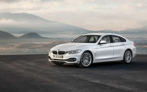 Picture white, mountains, BMW, Gran Coupe, 2014, 4 Series