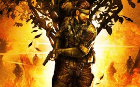 Picture gun, tree, hiding, Eater of snakes, Metal gear solid 3