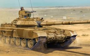 Wallpaper weapon, war, art, painting, tank, t-90