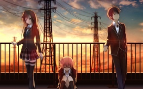 Picture sunset, girls, wire, anime, art, form, guy, students, yuigahama Yui suggests, this hachiman, yahari ore …