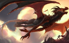 Picture people, rocks, dragon, fantasy, art, banner
