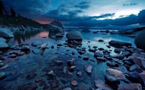 Picture landscape, night, nature, lake, stones