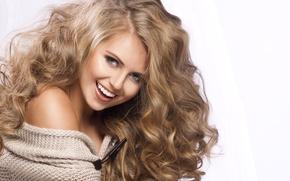 Picture girl, joy, blonde, curls