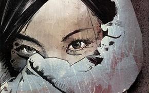 Picture girl, eyes, urban art, paint, russ mills
