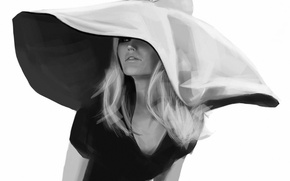 Picture girl, figure, hat, black and white, monochrome, Brigitte Bardot