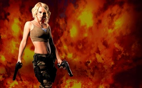 Picture girl, fire, guns, Jenny McCarthy