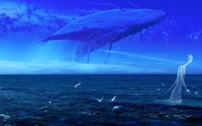 Wallpaper sea, the sky, water, clouds, birds, fiction, art, kit