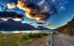 Picture road, greens, the sky, grass, water, clouds, landscape, mountains, clouds, nature, lake, river, earth