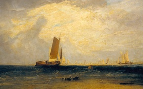 Wallpaper boat, picture, sail, seascape, William Turner, Fishing upon the Blythe-Sand