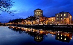 Picture the sky, trees, night, the city, lights, reflection, river, the building, the evening, Ireland, center, …