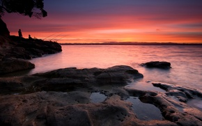 Picture the sky, sunset, river, stones, the evening, fishermen