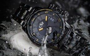 Picture yellow, watch, water clock