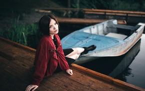 Picture summer, water, girl, lake, boat, portrait, pier, art, Victoria Berngard