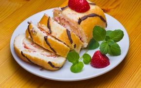 Wallpaper cream, cake, dessert, dessert, sweet, sweet, roll, strawberry