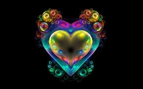 Picture bubbles, background, heart, fractal