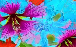 Picture flower, line, rendering, paint, petals