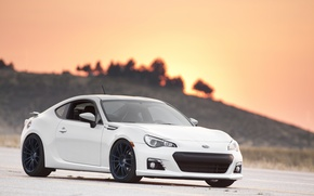 Picture asphalt, sunset, the evening, subaru, Subaru, brz, quick
