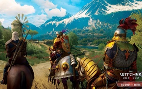 Picture beauty, Bokler, mountains, knights, armor, Blood and Wine, DLC, Toussaint, The Witcher 3: Wild Hunt, ...