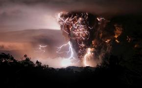Wallpaper the volcano, Chaiten, zipper, Chile, smoke, the eruption, night