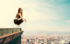 Picture roof, girl, the city, height