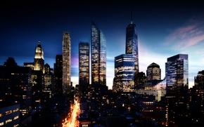 Wallpaper neboskreby, the sky, The city, night, civilization