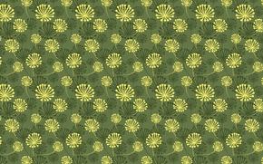 Wallpaper green, pattern, flowers
