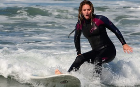 Picture sea, girl, extreme, surfing