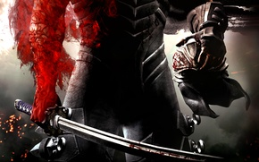 Wallpaper weapons, helmet, warrior, red, blood, scars, armor, sword