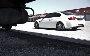Picture white, rails, bmw, BMW, train, white, train, e92