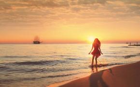 Picture The sun, Sand, Sea, Beach, Girl, Dress