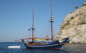 Picture the sky, blue, rocks, sailboat, Ships, boat, The Mediterranean sea