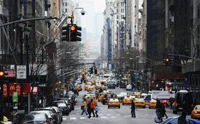 Picture movement, people, street, building, home, traffic, Skyscrapers, City, taxi, USA, New York, New York, NYC, …