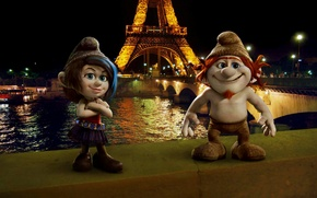 Picture night, the city, lights, river, Paris, Hay, dwarves, Eiffel tower, Paris, Eiffel tower, The Smurfs ...