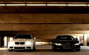 Picture white, Audi, Audi, bmw, BMW, Parking, white, black, the front, headlights, e92