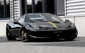 Picture black, the hood, ferrari, Ferrari, black, front view, Italy, 458 italia, yellow stripe