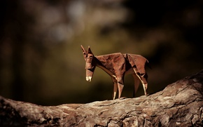 Picture branch, brown, origami, donkey, journey donkey, brown donkey