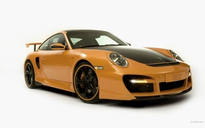 Wallpaper machine, white background, Porsche, yellow, porshe_911-techart426