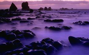 Wallpaper water, fog, rocks, Stones