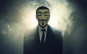 Picture light, smoke, mask, costume, V for Vendetta