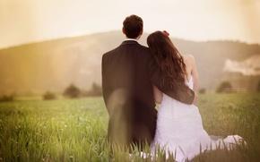 Picture greens, field, grass, girl, love, background, widescreen, Wallpaper, mood, woman, dress, pair, costume, wallpaper, male, …