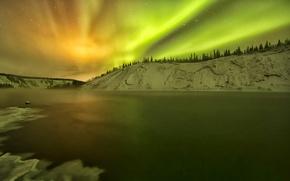 Picture winter, snow, lake, Northern lights, Alaska, glow, USA, Yukon