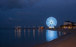 Picture night, city, the city, lights, shore, France, Bay, France, Aquitaine, Arcachon, Arcachon, Aquitaine