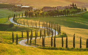 Picture road, landscape, house, Italy, house, road, landscape, Italy, green field, sunlight, beautiful nature, sunlight, beautiful ...