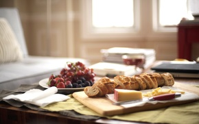 Picture table, Breakfast, morning, cheese, fruit, French bread
