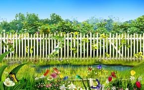 Wallpaper flowers, birds, the fence, stream