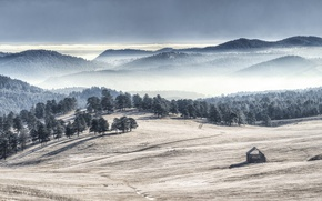 Picture mountains, fog, valley