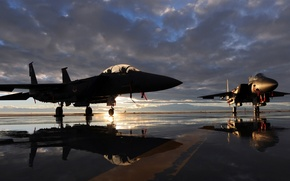 """Picture sunset, the plane, fighter, aircraft, runway, McDonnell Douglas F-15 Eagle, McDonnell Douglas F-15 """"Eagle"""""""