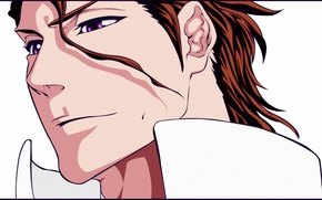 Picture face, anime, art, villain, male, bleach, Sosuke Aizen