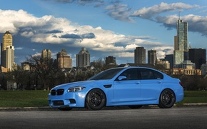 Picture the sky, clouds, blue, BMW, BMW, f10, Yas Marina Blue