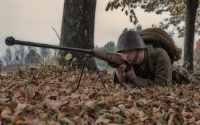 Picture nature, ambush, soldiers, helmet, anti-tank rifle